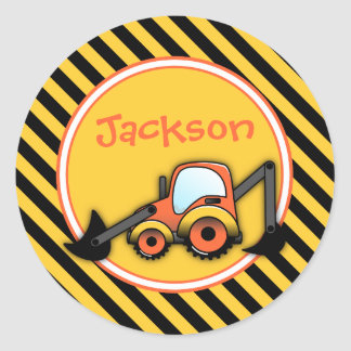 Construction Birthday Stickers, Digger Party Favor Round Sticker