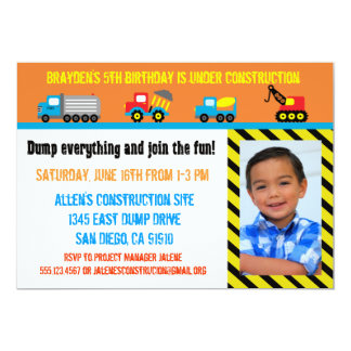 Construction Boys Birthday Invitation - Any Age