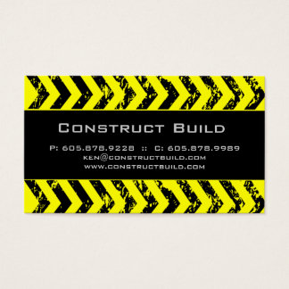 Construction Business Card Grunge yellow black
