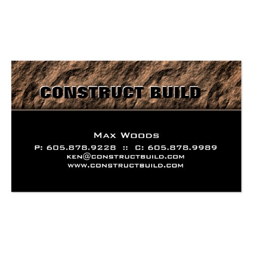 Construction Contractor Business Card Rock Beige