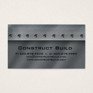 Construction Contractor Metal Business Card 3