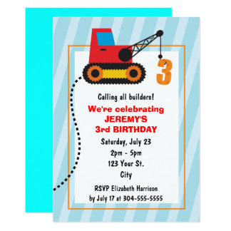 Construction Crane 3rd Birthday Card