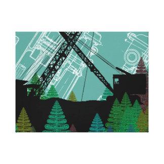 Construction crane Fantasy Art Crawler Crane Canvas Print