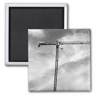 Construction Crane Square Magnet