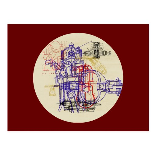 Construction design engineering drawing postcards