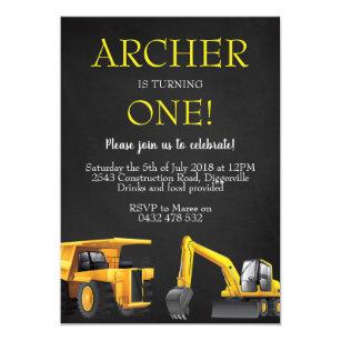 Construction Digger Boy Birthday Invite Invitation