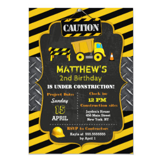 Construction Dump Truck Birthday Invitations