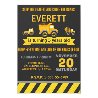 Construction Dump Truck Birthday Party Invitation