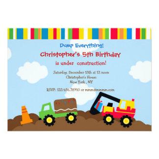 Construction Dump truck Birthday Party Invitations