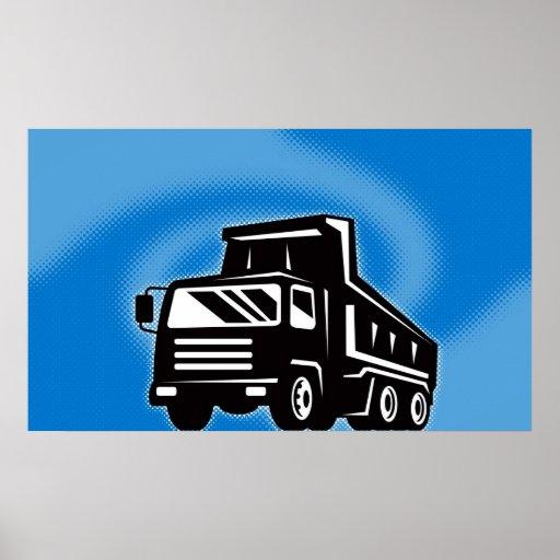 construction dump truck lorry poster
