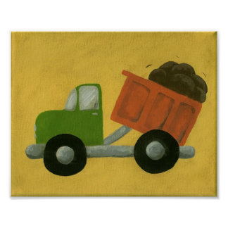 Construction Dump Truck Nursery Art Poster