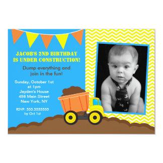 Construction Dump Truck Photo Birthday Invitations