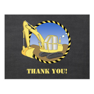 Construction Excavator Digger Thank You postcard