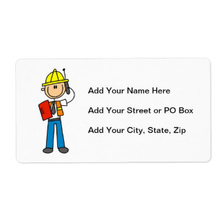 Construction Foreman T-shirts and Gifts Shipping Label