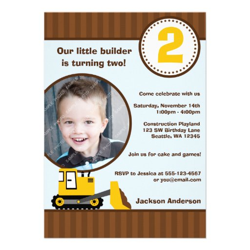 Construction Front Loader Photo Boy Birthday Party Invites