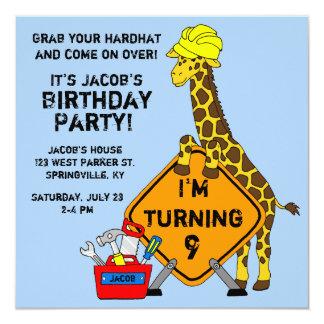Construction Giraffe Birthday 13 Cm X 13 Cm Square Invitation Card