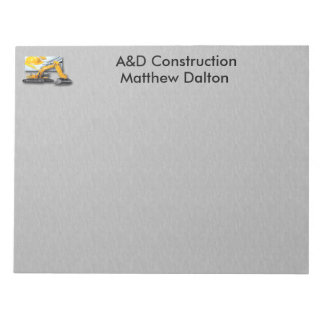 Construction Gray with Backhoe Notepad