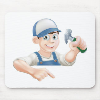 Construction guy pointing at banner mouse pad