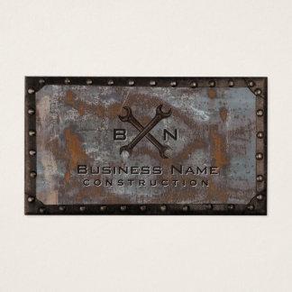 Construction Handyman Plumber Vintage Rusty Metal Business Card