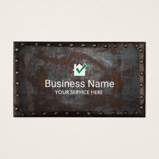 Construction House icon Vintage Rusty Metal Framed Business Card