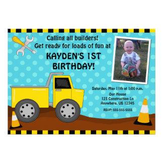Construction Kids Photo Birthday Invitation