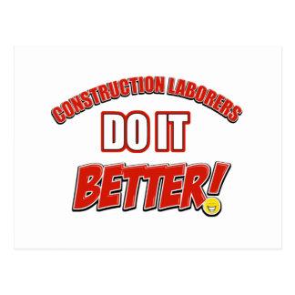 Construction laborer work postcard