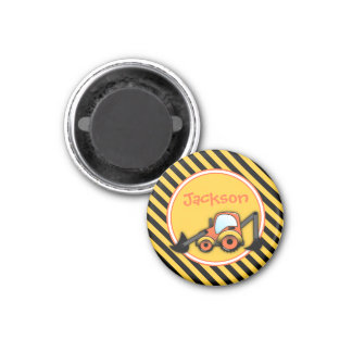 Construction Magnet, Digger Party Favor 3 Cm Round Magnet