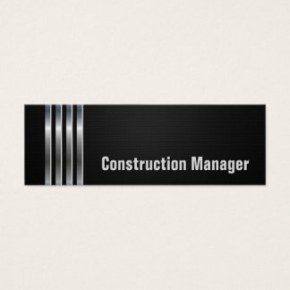 Construction Manager - Black Silver Stripes Mini Business Card
