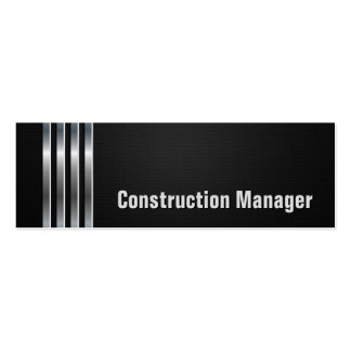 Construction Manager - Black Silver Stripes Pack Of Skinny Business Cards