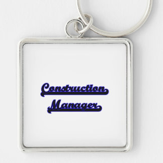 Construction Manager Classic Job Design Silver-Colored Square Key Ring