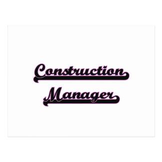 Construction Manager Classic Job Design Postcard