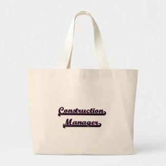 Construction Manager Classic Job Design Jumbo Tote Bag
