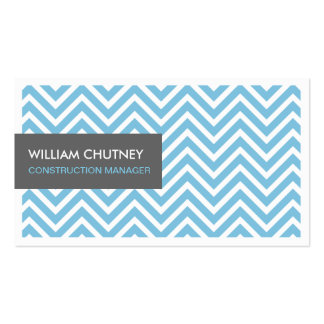 Construction Manager - Light Blue Chevron Zigzag Pack Of Standard Business Cards