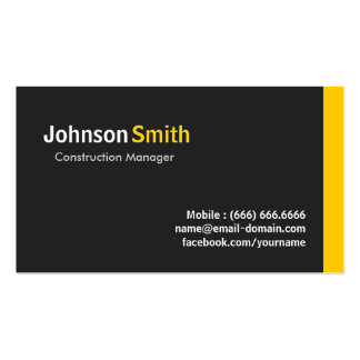 Construction Manager - Modern Minimalist Amber Pack Of Standard Business Cards