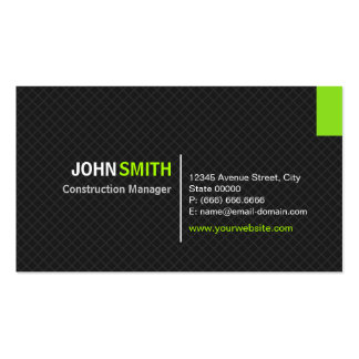 Construction Manager - Modern Twill Grid Pack Of Standard Business Cards