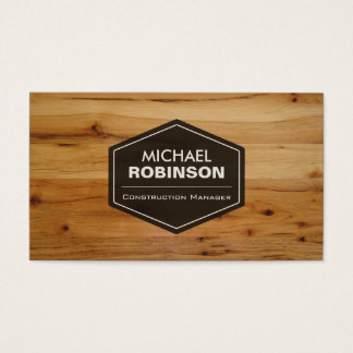 Construction Manager - Modern Wood Grain Look Business Card