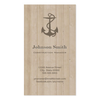 Construction Manager - Nautical Anchor Wood Pack Of Standard Business Cards