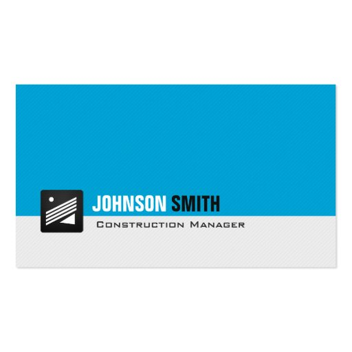 Construction Manager - Personal Aqua Blue Business Card Template
