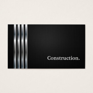 Construction Manager Professional Black Silver Business Card