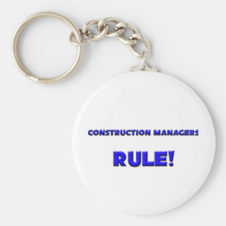 Construction Managers Rule! Basic Round Button Key Ring