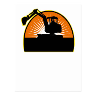 construction mechanical digger excavator post card