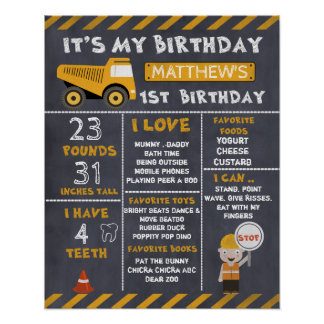 Construction Milestones 1st Birthday Poster
