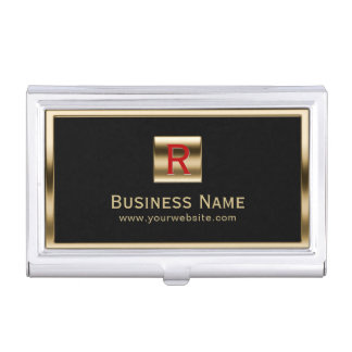 Construction Monogram Gold Framed Professional Business Card Holder