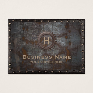 Construction Monogram Rusty Metal Vintage Business Card
