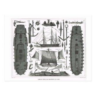 Construction of a ship postcard
