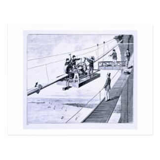Construction of Brooklyn Bridge, New York (litho) Postcard