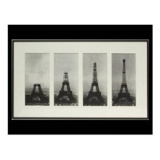Construction of Eiffel Tower Paris France Postcard