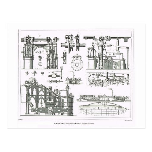 Construction of steamships post card