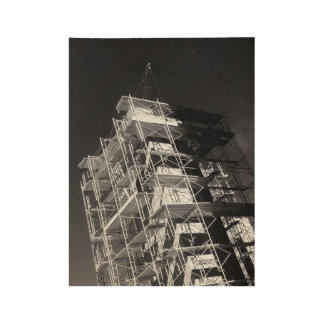 construction photograph in black and white wood poster