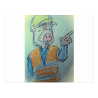 Construction Pig Pointing Postcard